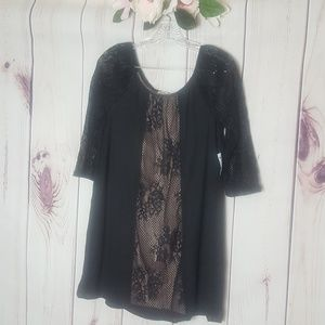 Charlotte Russe | Lace Mesh Black/Pink Tunic